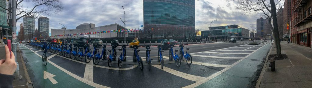 Panoramic photo of New York City outside of the UN.